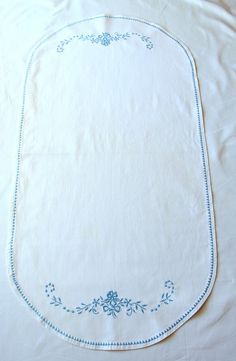 Vintage Oval Table Runner White Sky Blue Embroidery Framework Placemat Cotton Flowers zig zag piping by VintageHomeStories on Etsy Floral Embroidery, Vintage Embroidery, White Sky, Oval Table, Himmelblau, Moroccan Decor, Floor Decor, Cottage Chic, Keep It Cleaner