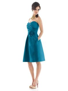 Alfred Sung Style D498 http://www.dessy.com/dresses/bridesmaid/d498/#.UlwsQFBwqSo  I like this color!!!  I just have to  make sure Thomas does, too. :)