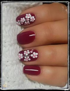 Amazing Easy Spring Nails Designs 2019 – Hairstyles Source by cleljn Fancy Nails, Red Nails, Cute Nails, Pretty Nails, Flower Toe Nails, Flower Nail Art, Red Nail Designs, Nail Designs Spring, Nail Art Printer