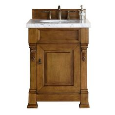 James Martin Furniture Brookfield Country Oak Single Vanity with Galala Beige Marble Top Vanity Set With Mirror, Single Sink Bathroom Vanity, Vanity Sink, Bath Vanities, Oak Bathroom, Black Vanity, Bathroom Wallpaper, Vanity Cabinet, Small Bathroom