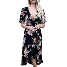 2017 Women V Neck Short Sleeve Boho Long Maxi Floral Evening Party Dress 3.15