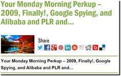 Your Monday Morning Perkup – 2009, Finally!, Google Spying, and Alibaba and PLR and…