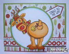 Art Impressions Rubber Stamps:  Ai Shakers: Jingle set (SKU#4681) ...handmade Christmas card.  wobble, deer, reindeer, Rudolph, interactive, winter, bell