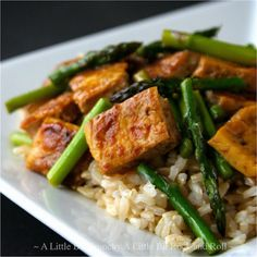 """""""Dry Fry"""" Tofu Stir-fry with Asparagus. Think you don't like tofu? This method of cooking it will change your mind! (Recipe from A Little Bit Crunchy A Little Bit Rock and Roll)"""