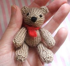 "Free knitting pattern for Twin Bear - This toy bear by Craftbits comes in two sizes depending on the yarn used. 6.5 inch x 3.5 inch if Wool 8 ply or Double worsted yarn is used; or 7x 4.5inch if ""Strand"" wool yarn is used"