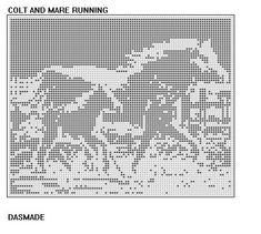 This is a beautiful filet crochet pattern of a COLT AND MARE RUNNING filet, by me, DASMADE   I have been crocheting for over 35 years and have always wanted to make original patterns for my own use as well as others.  THE PATTERN WILL BE EMAILED WITH DIRECTIONS AND EDGING PATTERNS.  If printed and mailed version is needed, please contact me through conversations for shipping info.   *******************************   Using worsted weight 4 ply yarn with size F hook (approximately 2400 yds)…