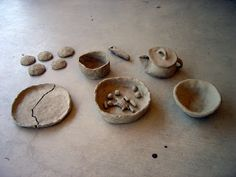 Model dishes from clay, wet the clay and show the need for finished pieces - Dynamite Skills: Primitive Pottery and Cooking