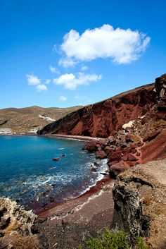 That's right! The sand is red! Red Beach, Santorini, Greece.