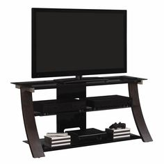 Chelfony Curved Wood, Metal and Glass TV Stand for TVs up to 55""