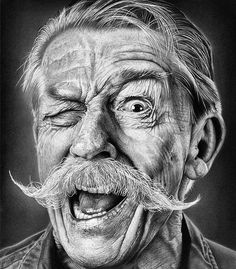 Incredible hyperrealistic drawing by Justin Cohen. Realistic Pencil Drawings, Pencil Art Drawings, Art Drawings Sketches, Horse Drawings, Old Man Portrait, Pencil Portrait, Portrait Art, Black And White Art Drawing, Black And White Portraits