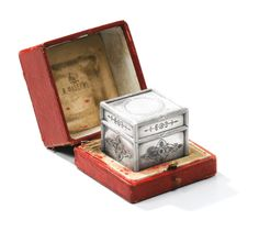 A Fabergé silver travelling inkwell, workmaster Theodore Ringe, St Petersburg, circa 1895.