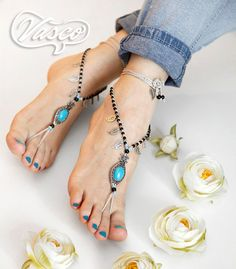 Turquoise Barefoot Sandals. Blue Hippie Shoes. Gypsy Bellydance Shoes on Etsy, $25.00