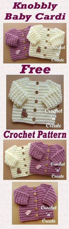 baby cardi Free Crochet Pattern Free baby crochet pattern for knobbly baby cardi. made in a textured stitch on a hook.Free baby crochet pattern for knobbly baby cardi. made in a textured stitch on a hook. Gilet Crochet, Bag Crochet, Crochet Gratis, Love Crochet, Crochet Jacket, Crochet Baby Sweaters, Crochet Baby Cardigan, Crochet Baby Clothes, Crochet Shirt
