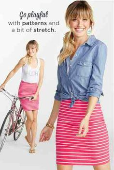 Pink stripe pencil skirt + denim shirt