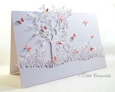 A beautiful card from Kittie Caracciolo, for Breast Cancer Awareness. (Using Memory Box Grand Oak Tree).