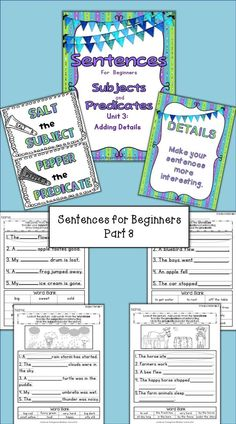 PART THREE OF A BEST SELLER….Unit 3: Adding Details introduces the addition of 'details' to sentences with adjectives and adverbs. While not using the parts of speech terms, adjectives 'salt the subject' and adverbs 'pepper the predicate.' By the end of this unit, students should understand how to create interesting sentences. $
