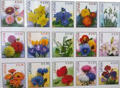 Letonia-conjunto-de-sellos-Flores-De-Coleccion-15-Diferentes-Sellos-mnh-Lettland