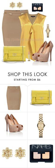 """""""Satin Mustard Top & Beige Pencil Skirt"""" by casuality ❤ liked on Polyvore featuring Blumarine, TIBI, Diane Von Furstenberg, Giuseppe Zanotti, Marc by Marc Jacobs, Miso, NARS Cosmetics and Kevyn Aucoin"""
