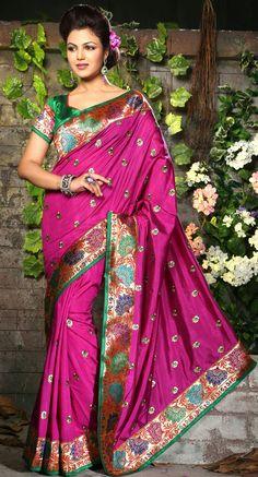 Designer Pink Silk Saree - IG8485 USD $ 66.09