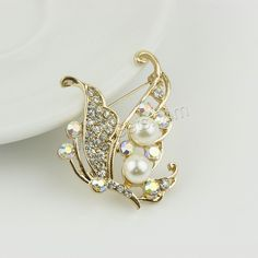 Plastic Pearl Brooch Zinc Alloy with ABS Plastic Pearl Butterfly gold color  plated with rhinestone nickel lead cadmium free. Find this Pin and more on  Hair ... 549e9e878316