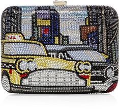 Judith Leiber - 42nd Street Cab Clutch - Multicolor  All-over hand beaded crystal-embellishment, push-lock top closure, detachable chain shoulder strap, fully lined in leather, presented in a judith leiber dust bag and box. Lyst.com. <3<3<3WOW! AMAZING DETAIL- PIECE OF ART!<3<3<3