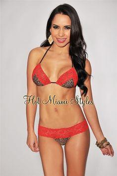 37b9bf12cc Cheetah Print Red Chantilly Lace Lingerie Scrunch Butt Bikini Hot Miami  Styles