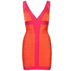 Hervé Léger Billie Color-Block Bandage Dress ($1,050) ❤ liked on Polyvore