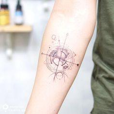 geometrical world map tattoo on arm