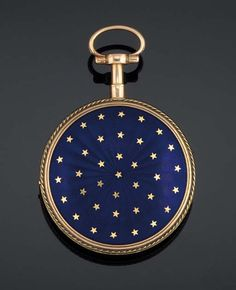 A 19TH CENTURY GOLD AND ENAMEL VERGE POCKET WATCH