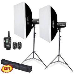2X Godox DP1000 1000W Strobe Flash Light w/ Flash Trigger  Softbox  Stand Kit