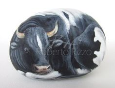 Cow | Rock painting art by Roberto Rizzo
