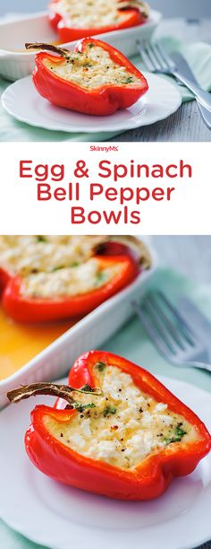 These Egg & Spinach Bell Pepper Bowls are beyond simple to make. Easy and healthy breakfast recipe. Breakfast For Dinner, Breakfast Time, Breakfast Recipes, Dinner Recipes, Mexican Breakfast, Breakfast Healthy, Breakfast Smoothies, Low Carb Recipes, Vegetarian Recipes