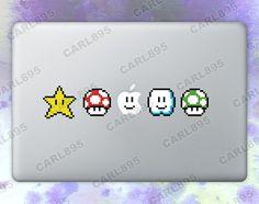 Super Mario Inspired - 8bit Power Ups Color Vinyl Sticker for Macbook Air/Pro on Etsy, $11.50