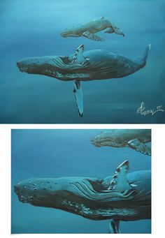 Acrylic painting humpbacks from a National Geographic Photo sample. Not for sale just a quick painting exercise. National Geographic Photos, Whale, My Arts, Exercise, Fine Art, Illustration, Artwork, Painting, Animals