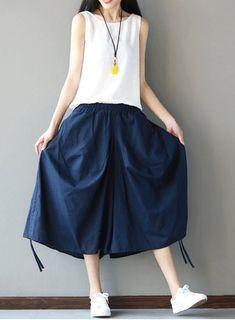 Women loose fit plus size pocket lantern pants blue elastic waist trouser skirt #unbranded