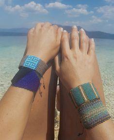 summer macrame bracelet, blue bracelets, unique wide cuffs Macrame Colar, Macrame Bracelet Diy, Beaded Cuff Bracelet, Macrame Jewelry, Bead Loom Bracelets, Woven Bracelets, Blue Bracelets, Macramé Art, Gypsy Jewelry