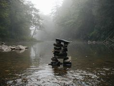 Magical morning...rock cairn in the mist