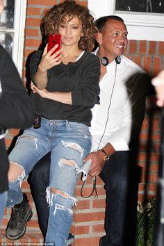 Just kids: On Wednesday, Jennifer Lopez, 48, got playful with boyfriend Alex Rodriguez, 42...