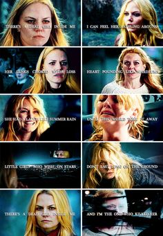 There's a dead girl inside me. I can feel her rattling around. Her lungs choked with loss, heart pounding like wardrums. She had a laugh like summer rain until the world tore it away. Little girls who wish on stars don't last long on the ground. There's a dead girl inside me and I'm the one who killed her. #ouat