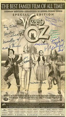THE WIZARD OF OZ-1998-Autographed 60th-Anniversary Newspaper Ad by 10 MUNCHKINS