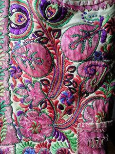 Detail from embroidered sheepskin waistcoat, Transylvania