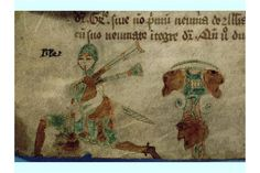 Manuscript marginal illustration showing Irish piper, Cistercian ordinal written…