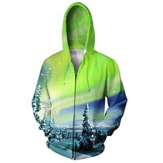 This awesome Arctic Nights zip-up hoodie features a beautiful Alaskan landscape, complete with an aurora borealis!This product is hand made Funny Outfits, Casual Outfits, Printed Sweatshirts, Hooded Sweatshirts, Zip Hoodie, Crew Neck Sweatshirt, Zip Up Hoodies, Womens Parka, Shirt Maker