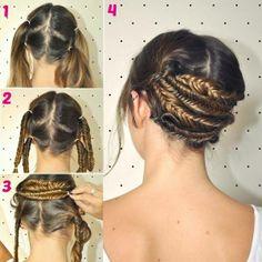 1. Verdeel je haar in vier gelijke delen. 2. Maak er vier vlechten van. 3. Verbind ze horizontaal met elkaar.
