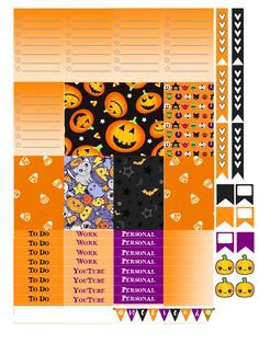 Planner & Journaling Printables ❤ Free THP (the happy planner by MAMBI) sticker. Free printable sticker layout may be subject to copyright not intended for retail; Planner Supplies, Planner Ideas, Art Halloween, Halloween Printable, Printable Planner Stickers, Free Printables, Planner Organization, Organizing, Happy Planner