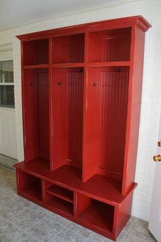 Barn Red Mudroom Cubby contemporary furniture-Just using color would be cool...maybe deep purple