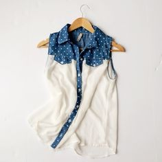 Paper Crane Polka Dot Sheer and Blue Jean Blouse Super cute, flowy sleeveless blouse with adorable polka dot blue jean top! Purchased from another sweet posher but sadly didn't fit.  Paper Crane brand which has been sold at Anthropologie. Such a fun summer shirt! Would be so cute tucked into a cute skirt or with a fun belt. Doesn't appear to have ever been worn! Paper Crane Tops Blouses