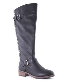 Another great find on #zulily! Black Stud Eny Boot #zulilyfinds