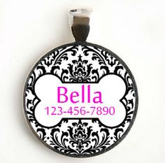 Damask Design Round Custom Pet ID Tag for Dog or Cat by LilyMod, $8.00