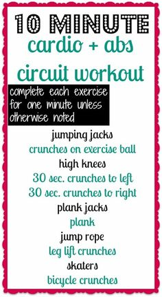 Cardio and Abs Circuit - Only 10 minutes!...I might do this. Once I figure out what a plank jack is.